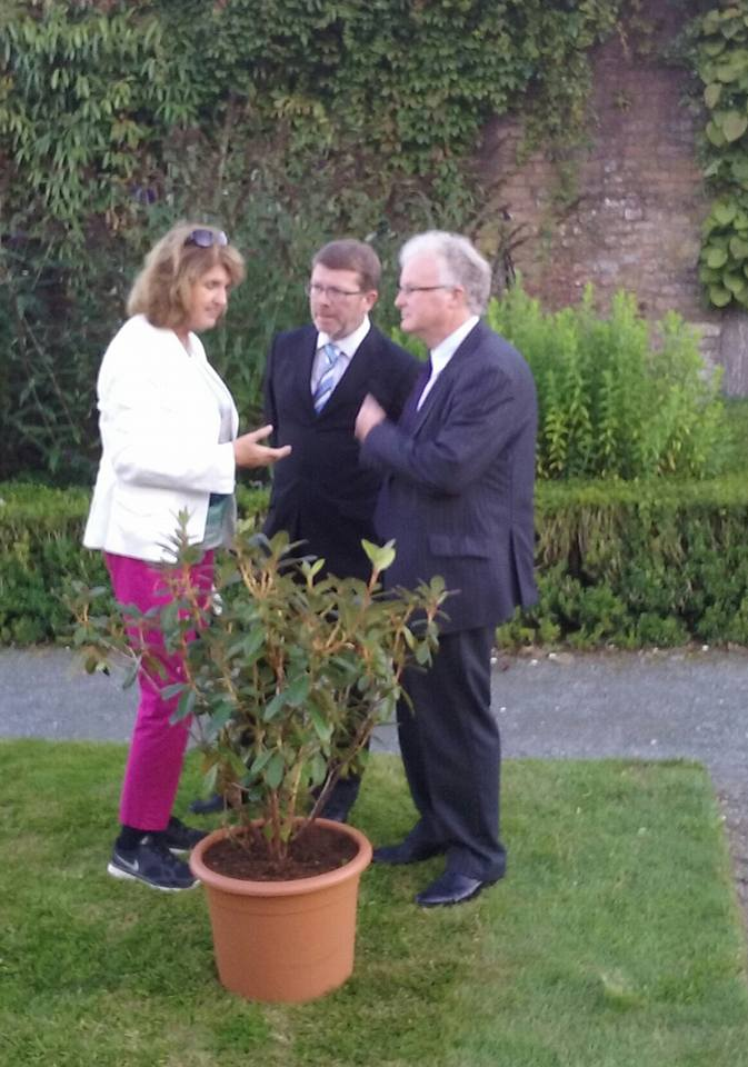 Tánaiste Joan Burton, Michael White and Tony Kelly with newly named Rhododendron 'Tánaiste Joan Burton', named to mark her visit to Mount Congreve on Saturday,  29th August 2015