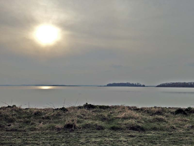 The Lough on a hazy February afternoon looking west from Greyabbey village