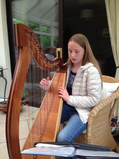 The afternoon was enhanced by the lovely harp music played by the Henry's grand daughter.