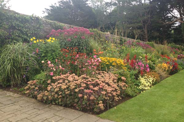 Hot border. Herbaceous border filled with bright reds, pinks, oranges and yellows throughout the season; from tulips and peonies in early summer to bright dahlias and penstemons later in the season. Barbara Kelso