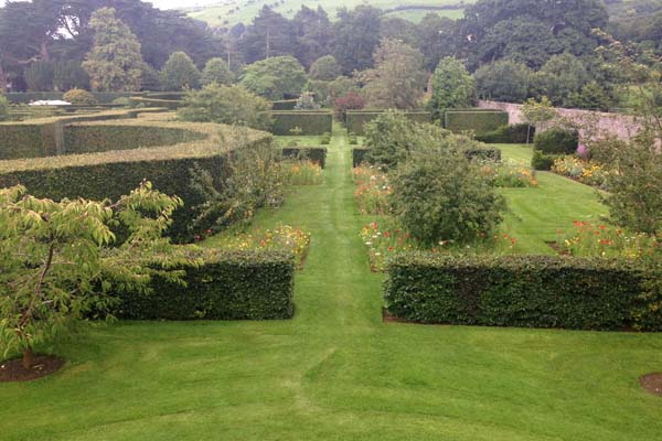 View of one side of the garden from the mount. It also provides a panoramic view of the countryside around - 'borrowed landscape'. Barbara Kelso