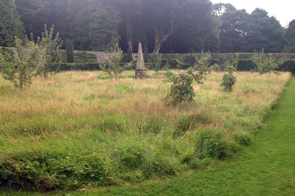 Apple orchard and wildflower meadow. The Obelisk was created by a local craftsman out of oak. Barbara Kelso